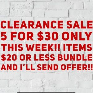 Clearance sell this week only!